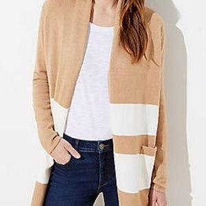 LOFT Striped color block Sweater Tan/Cream NEW